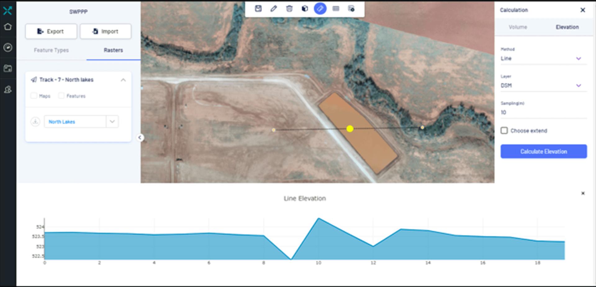 Elevation profiles, volumetric analytics, contour maps