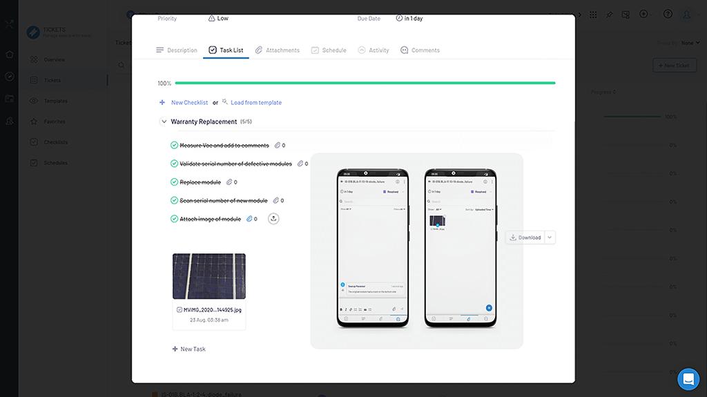 Solar tasks scheduling sampling quality control on app